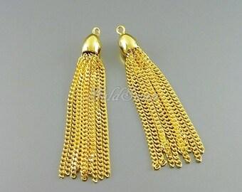 2 SHINY gold plated brass chain 10-strand tassels, Bohemian chain tassels, tassel accessories, tassel earrings 2078-BG
