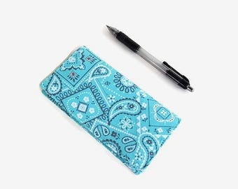 Turquoise Checkbook Cover - Coupon Holder - Paisley Fabric Checkbook Holder - Purse Accessory Organizer