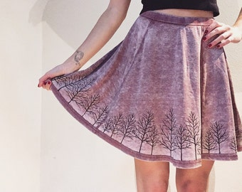 Light pink acid washed skater skirt with handpainted trees