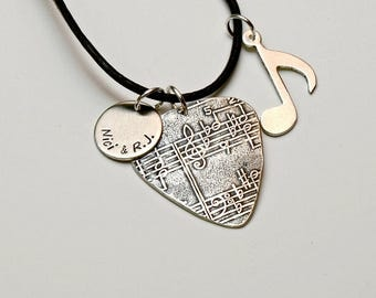 Sterling Silver Guitar Pick Necklace with Music Note and Personalized Disc Charm, and Musical Impression – Solid 925 GP2407