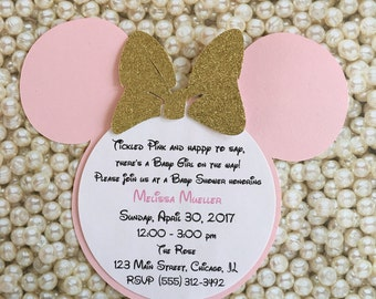 Tickled Pink Gold Baby Shower Minnie Mouse Glitter Invitations Minnie Invitations Minnie Mouse Head Invitation Birthday Baby Shower Invitati