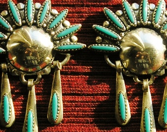 Harvey Era Southwest Sterling Silver Petit Point Turquoise Dangle Earrings