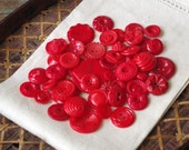 Vintage Red BUTTON Lot of 50+ Plastic Buttons