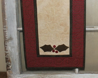 Primitive Holly leaves  quilted table runner