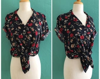 80's black floral blouse // floral button down top ~ small medium