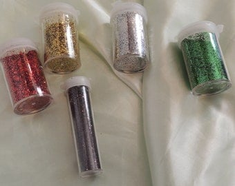 Glitter 5 Containers Red Green Gold Silver Black Partially Used