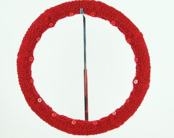 Knit Steering Wheel Cover (True Red) with Safety Rubber Backing, Machine Washable