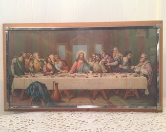 The Last Supper. Vintage framed religious art print, Jesus and His Disciples.  Classic mid-century Catholic Shabby Farmhouse, Cottage decor.