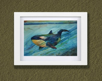 Original Watercolor Orca Two - Killer Whale - Watercolor Whales  - My Daily Whale