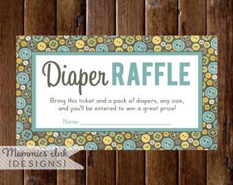 Diaper Raffle Ticket, Cute as a Button Diaper Shower, Button Theme, Sew Cute Theme, Button Diaper Raffle, Printable Shower