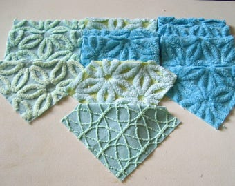 """Cool Tropical Blues and Greens 6"""" Quilt Squares Vintage Chenille Bedspread Fabrics (12)"""