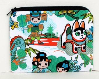 Small Zipper Pouch, Little Samurai, Green Tokidoki Anime Bag