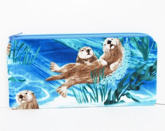Sea Otter Pencil Pouch, Long Zipper Pouch, Blue Ocean Animals