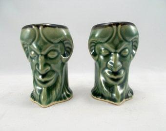 PAIR of Gargoyle Shot Glasses Green Glaze, Ram Horned Gargoyle Original Fantasy Art Pottery - Dram - Liqueur Cups -Bar Accessories
