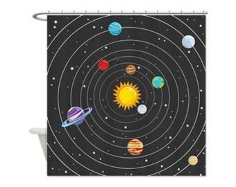 SPACE PLANETS Kids' Shower Curtain - Kids' Bathroom Decor; Kids' Shower Curtain