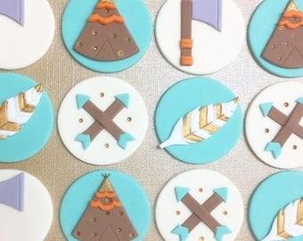 12 Boho fondant cupcake toppers, Tribal fondant.