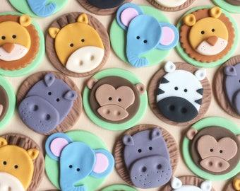 12 Safari Animals fondant cupcake toppers