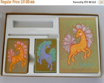 FALL SALE 25% OFF Vintage Hallmark Playing Card Ensemble. Unicorn Design. 2 Decks of Cards and Score Pad in Original Box. Never Used.