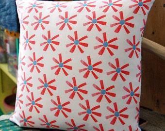 Cushion- Red Paper Floral Throw Cushion. Throw Pillow. Scatter Cushion. Pillow.