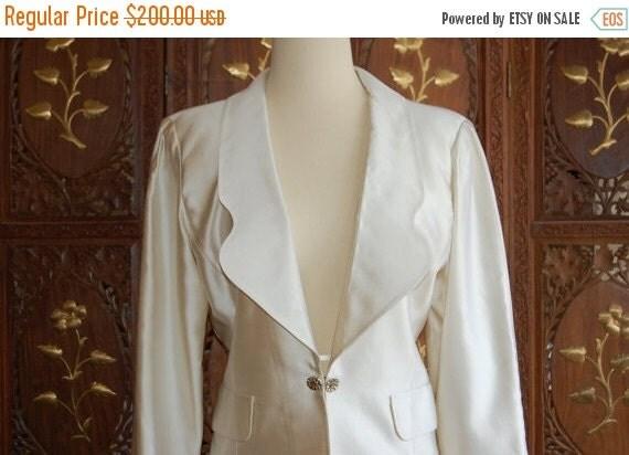 ON SALE Vintage 1980s COURREGES Off-White Satin Tailored Blazer  Sz 42