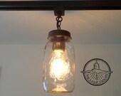 Mason Jar TRACK LIGHTING Single New Quart Pendant Chandelier Fixture for Kitchen by Lamp Goods