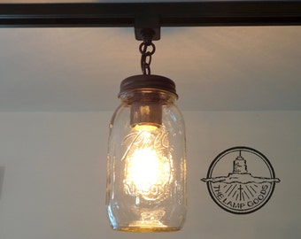 Mason Jar TRACK LIGHTING Single New Quart Pendant Chandelier Fixture for Kitchen by Lamp Goods