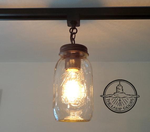 Mason Jar TRACK LIGHTING Single New Quart Pendant Chandelier