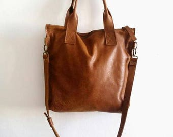 Brown leather tote - Handbag - Cross-body bag - Every day bag - Women bag  - Shoulder leather bag