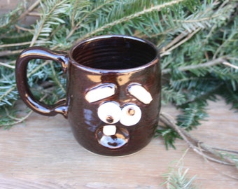 Fun Ceramic Mug Worried Morning Coffee Cup. Chocolate Black Stoneware Pottery Face Mug. Microwave and Dishwasher Safe Ug Chug Mug!