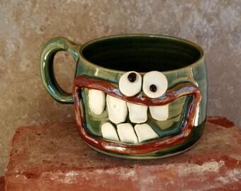 Ug Chug Pottery Soup Mug Bowl. Big 16+ Ounce Green Happy Smiley Face. Fun Chili Bowls with Handle. Popcorn Bowl.Huge Latte Cappuccino Cup.