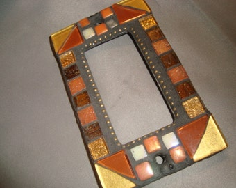 MOSAIC Outlet Cover or Switch Plate, GFI Decora, Wall Plate, Wall Art, gold, rust, brown, orange