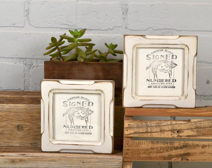 4x4 Square Photo Picture Frame in Shallow Bones Style with Vintage White Finish - IN STOCK -  Same Day Shipping - 4 x 4 Picture Frame