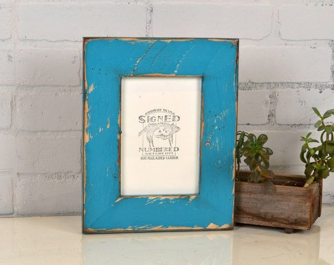 "5x7"" Picture Frame in 2.25 Reclaimed Pine with Super Vintage Turquoise Finish - IN STOCK - Same Day Shipping - 5 x 7 Rustic Blue Frame"