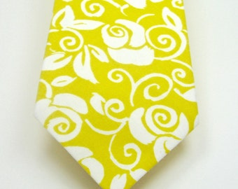 Yellow Neckties Mens Neckties Wedding Neckties Yellow Floral Neckties Yellow Wedding Neckties Custom Neckties