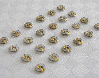 24  beautiful semi transparent frosted glass  buttons with fine golden trim  (11 mm - 7/16 in.)