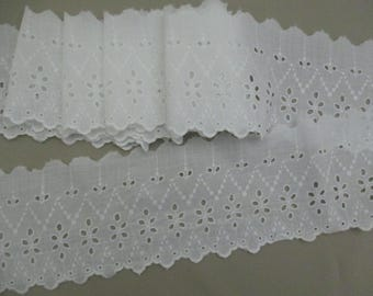 2+ Yards Vintage Lace Antique Trim  Wide Eyelet Trim