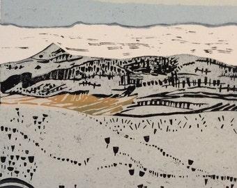 Shuttlingsloe Original Linocut Print