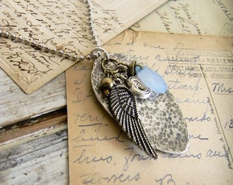 Spoon Necklace, Spoon Pendant, Boho Charm Necklace, Boho Charm Necklace, Wing Charm Jewelry, Long Necklace, Mixed Metal Charm Necklace 30 in