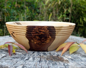 Wood Bowl, Ambrosia Maple Wood Bowl, Serving Bowl, hand turned, Maple Bowl, Maple Wood, Ambrosia Wood, Decorative Bowl, Kitchen Ware, table