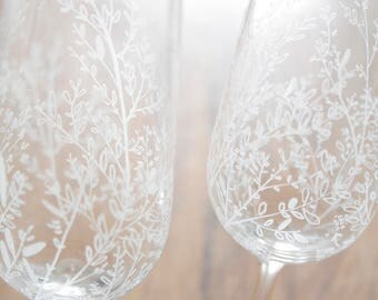 Crystal Champagne Flutes, Hand Engraved, Pair of Wedding Flutes