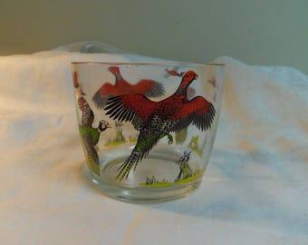 Mid Century Bar Ware, Ice Cube Bowl Bucket with Pheasants, Hunting Scene Hazel Atlas