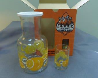 Orange Juice Carafe and 4 Glasses, Boxed Set, Libbey St. Clair, Oranges