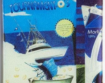 Tournament O's Cereal glass cutting board breakfast sportfishing humor milk