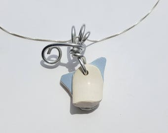 Teacup Handle broken Sea Pottery Necklace handmade with sterling Chain and silver aluminum