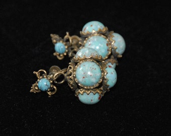 Vintage German Turquoise Dangle Earrings, Gold and Turquoise Colored Stones, Robin Egg Speckled, Boho, Gypsy