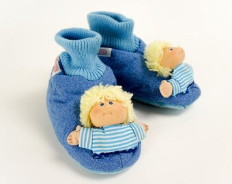Vintage 1980s Childrens Size 11-12 Slippers / Cabbage Patch Kids Childs Slippers Like-new