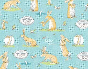 Guess How Much I Love You 3 Fabric Mommy and Baby Bunny Rabbit on Light Sky Blue Pin Dots