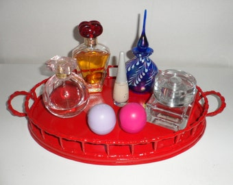 Vintage Brass Vanity Tray wtih Handles Upcycled Bright Red