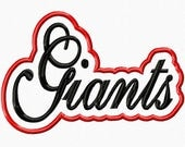 Giants Script with a Shadow Embroidery Machine Applique Design 4611 INSTANT DOWNLOAD