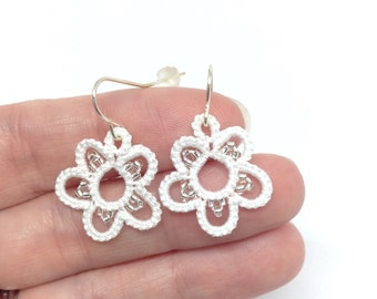White Flower Earrings-Tatted Lace Ear Rings-Lightweight Jewelry-Snowflake-Winter Wedding Accessory-Gift for Her-Bridal Elegance-Beaded-Ears